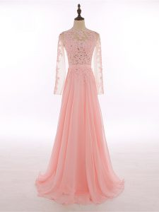 Spectacular Peach Empire Lace and Appliques Formal Evening Gowns Zipper Chiffon Sleeveless Floor Length