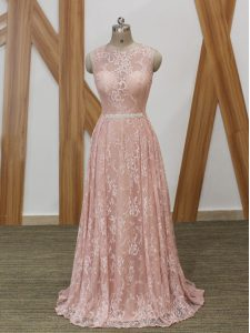 Spectacular Floor Length Pink Prom Dress Scoop Sleeveless Brush Train Zipper