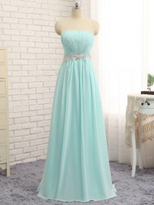 Modest Chiffon Sleeveless Floor Length Quinceanera Court Dresses and Appliques and Ruching