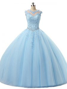 Unique Light Blue Ball Gowns Tulle Scoop Sleeveless Beading and Lace Floor Length Lace Up Quinceanera Dress