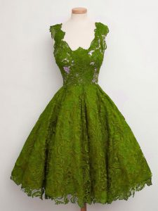 Olive Green Sleeveless Lace Knee Length Quinceanera Court of Honor Dress