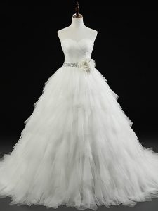 White Lace Up Wedding Gown Beading and Ruffles and Hand Made Flower Sleeveless Brush Train