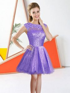 Great Lavender Organza Backless Damas Dress Sleeveless Knee Length Beading and Lace