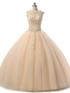 Sumptuous Champagne Sleeveless Tulle Lace Up Sweet 16 Dresses for Military Ball and Sweet 16 and Quinceanera