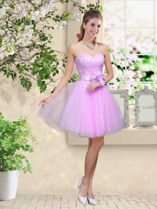 Simple Sweetheart Sleeveless Lace Up Quinceanera Dama Dress Lavender Tulle