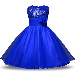 Affordable Knee Length Royal Blue Flower Girl Dresses for Less Organza and Sequined Sleeveless Belt and Hand Made Flower