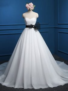 Artistic White Wedding Gowns Tulle Court Train Sleeveless Ruching and Bowknot