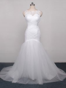 Smart Scoop Sleeveless Tulle Wedding Gown Lace and Appliques and Ruching Brush Train Lace Up
