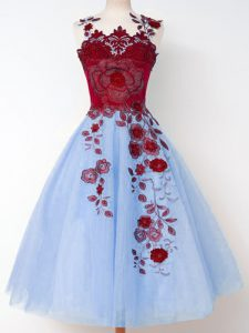 Wonderful Blue A-line Straps Sleeveless Tulle Knee Length Lace Up Appliques Quinceanera Dama Dress
