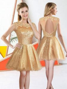 High End Champagne Organza Backless Bateau Sleeveless Knee Length Wedding Party Dress Beading and Lace