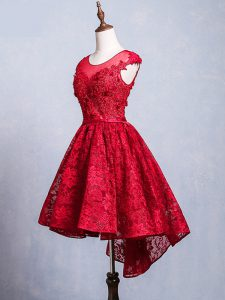 Red Club Wear Prom and Party and Sweet 16 with Lace and Appliques and Belt Scoop Short Sleeves Lace Up
