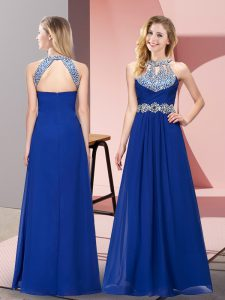 Stunning Halter Top Sleeveless Floor Length Beading and Ruching Blue Chiffon