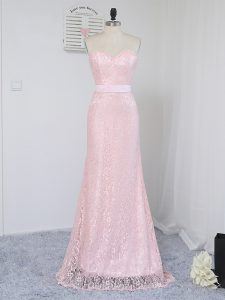 Free and Easy Baby Pink Sleeveless Lace Floor Length Bridesmaids Dress