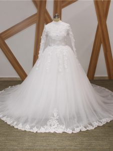 White Ball Gowns Tulle High-neck Long Sleeves Lace and Appliques Zipper Wedding Dress Court Train