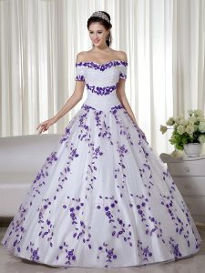 Stunning White Ball Gowns Organza Off The Shoulder Short Sleeves Embroidery Floor Length Lace Up 15th Birthday Dress