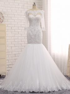 Floor Length White Wedding Gown Off The Shoulder Sleeveless Zipper