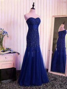 Sweetheart Sleeveless Tulle Evening Dress Beading and Lace and Appliques and Pleated Lace Up