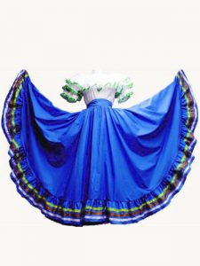 Royal Blue Lace Up Off The Shoulder Ruffled Layers 15th Birthday Dress Taffeta Short Sleeves