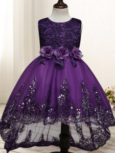 Elegant High Low Dark Purple Little Girl Pageant Dress Tulle Sleeveless Lace and Appliques and Bowknot and Hand Made Flower