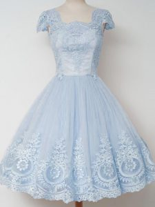 Knee Length Zipper Dama Dress Light Blue for Prom and Party and Wedding Party with Lace