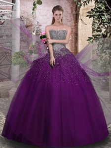Captivating Floor Length Ball Gowns Sleeveless Purple Quinceanera Gowns Lace Up