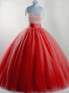 Red Ball Gowns Beading Ball Gown Prom Dress Lace Up Tulle Sleeveless Floor Length