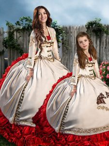 Pretty White And Red Long Sleeves Brush Train Embroidery and Ruffles Quinceanera Dresses