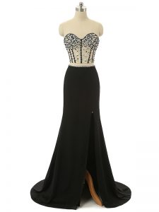 Pretty Black Zipper Sweetheart Beading Prom Dresses Elastic Woven Satin Sleeveless Brush Train