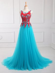 Romantic Aqua Blue Zipper Scoop Lace and Appliques Celebrity Prom Dress Tulle Sleeveless Brush Train