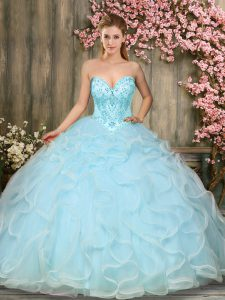 New Style Floor Length Aqua Blue Sweet 16 Quinceanera Dress Sweetheart Sleeveless Lace Up