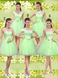 Sweetheart Lace Up Lace and Belt Quinceanera Court of Honor Dress Sleeveless