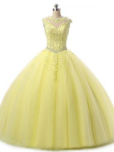 Hot Selling Yellow Tulle Lace Up Scoop Sleeveless Floor Length 15th Birthday Dress Beading and Lace