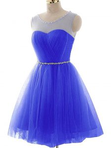Scoop Sleeveless Lace Up Homecoming Dress Blue Tulle