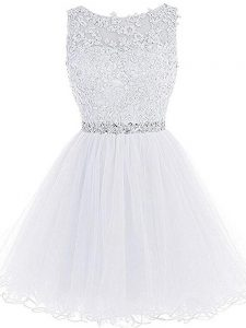 Flirting Mini Length Zipper Prom Party Dress White for Prom and Party and Sweet 16 with Beading and Lace and Appliques