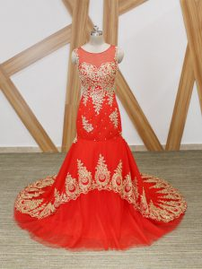 Hot Selling Coral Red Tulle Zipper Celeb Inspired Gowns Sleeveless Brush Train Beading and Lace and Appliques