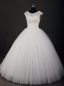 Decent White Scoop Zipper Lace Wedding Dress Sleeveless