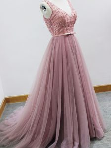 Flare Pink V-neck Neckline Beading and Belt Dama Dress Sleeveless Zipper