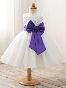 Sleeveless Bowknot Zipper Little Girl Pageant Dress