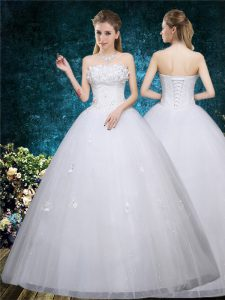 Excellent White Sleeveless Organza Lace Up Wedding Dress for Wedding Party
