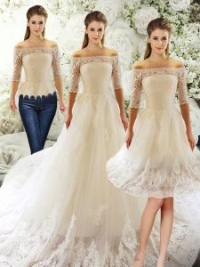 Most Popular Off The Shoulder Half Sleeves Tulle Wedding Gown Lace Court Train Clasp Handle