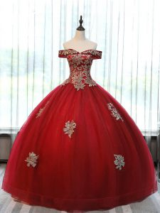 Wine Red Ball Gowns Beading and Appliques Sweet 16 Dress Lace Up Tulle Sleeveless Floor Length