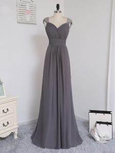Grey Damas Dress Prom and Party and Wedding Party with Lace and Ruching Straps Cap Sleeves Brush Train Zipper
