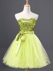 Yellow Green Zipper Sweetheart Sequins Evening Dress Tulle Sleeveless