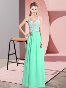 Best Floor Length Zipper Homecoming Dress Apple Green for Prom and Party with Lace