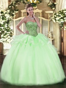Clearance Floor Length Apple Green Sweet 16 Dress Sweetheart Sleeveless Lace Up