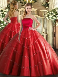Shining Floor Length Lace Up Quince Ball Gowns Red for Military Ball and Sweet 16 and Quinceanera with Appliques
