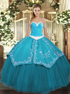 Chic Sleeveless Lace Up Floor Length Appliques and Embroidery Sweet 16 Dress