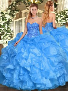 Floor Length Lace Up Sweet 16 Dress Baby Blue for Military Ball and Sweet 16 and Quinceanera with Beading and Ruffles