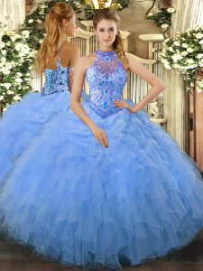 Smart Sleeveless Beading and Ruffles Lace Up Ball Gown Prom Dress