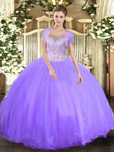 Admirable Lavender Tulle Clasp Handle Sweet 16 Dress Sleeveless Floor Length Beading